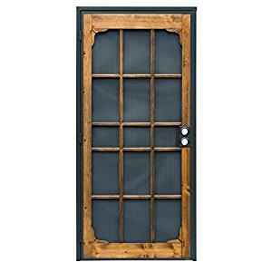 Prime-Line Products Woodguard Steel Security Door, Steel & Wood Construction, Non-Handed, Bronze 36 in. x 80 in.
