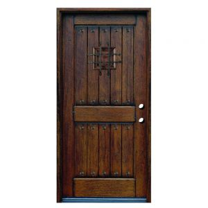 Rustic Mahogany Solid Wood Security Door